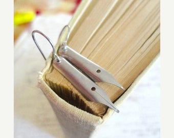 40% OFF SALE Vintage calligraphy pen earrings, stainless steel, pen nib earrings, pen nib jewelry, Dearest Darling