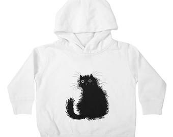Moggy - Cat - Unisex - Toddler Pullover Hoody / Hoodie - White / Cyan - by Oliver Lake - iOTA iLLUSTRATION