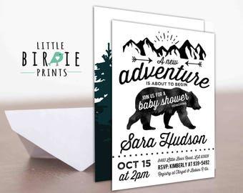 ADVENTURE Baby Shower invitation - Bear Baby Shower Invitation - Black and White baby shower invitation - Mountains Tribal Rustic Invitation