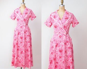1950s Rose Print Dress / 50s Cotton Dressing Gown