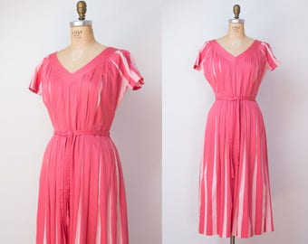 1940s Claire McCardell Dress / 40s Pink Striped Day Dress