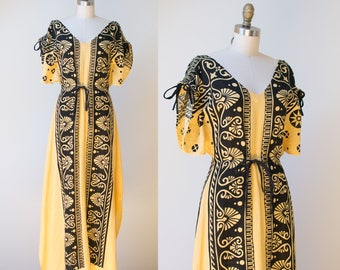 1970s Gauze Dress / 70s Block Print Caftan