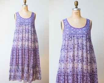 1970s Indian Gauze Dress / 70s Lavender Pakistan Block Print Dress