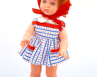 Authentic Vintage 1960s Red Hair Classic Child Alta Moda Italian High Fashion Haute Couture Doll Dress Kerchief