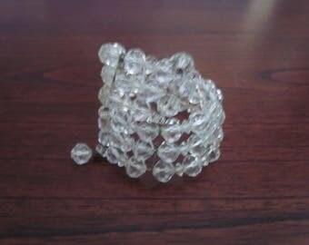 Vintage Memory Wire Crystal Bracelet, Mid Century