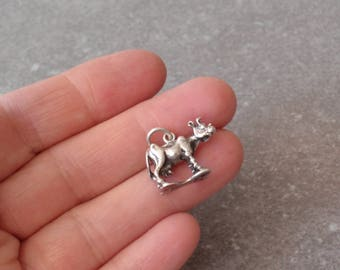 Cow Charm Sterling Silver Detailed 3D Vintage 040517BT