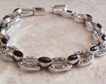 Marcasite Bracelet With Black Onyx Sterling Silver Vintage CW0148