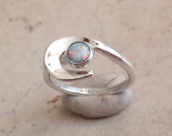 Natural Opal Ring Sterling Silver Swirl Vintage V0744