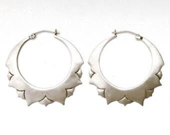 Lotus Petal Hoop Earrings sterling silver or gold plated brass