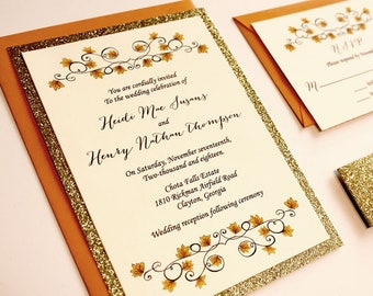 Golden Leaves Wedding Invitation - gold wedding invitation, glitter gold wedding invitation, fall wedding, glitz invitation