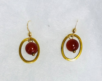 Gold filled cranberry earrings