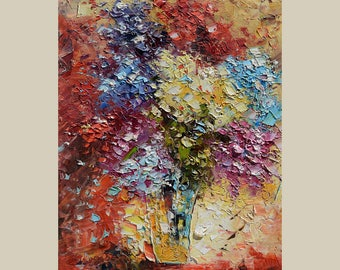 Painting ORIGINAL Colorful  flower painting impasto Textured painting Modern painting bright colors canvas painting ready to hang gift