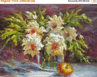 70% OFF Into The Night 23 x 30 Original Oil Painting Palette Knife ColorfulFlowers Vase Bouquet Textured  by Marchella