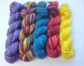 Five mini-skeins of fingering/4ply/sock yarn - BFL, merino, bfl/silk, merino/bamboo