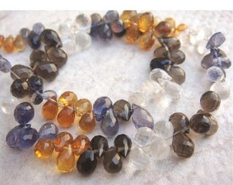 ON SALE 55% Multi Gemstone Briolettes - Micro Faceted Tear Drop Briolettes - 7x5mm Approx - 49 Pieces