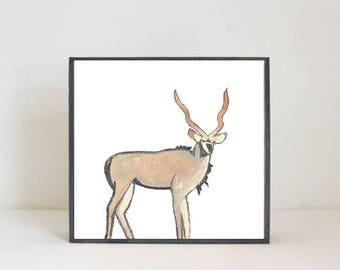 safari nursery art kudu  boho nursery prints,  gender neutral baby nursery decor- animal prints nursery decor modern nursery redtilestudio