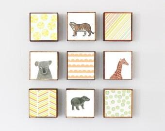 zoo animals nursery wall art- nine set of 5x5 art blocks nursery decor, tiger, lion animal prints safari decor geometric print redtilestudio