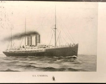 1906 S.S. Umbria Postcard with Green One Cent Ben Franklin Stamp Cancelled in New York and Indianapolis Miss Anna Wright Cunard Line