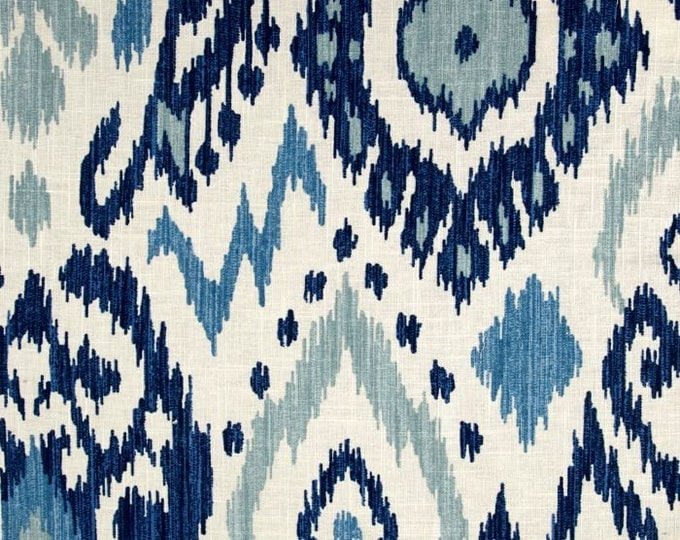 Trend Blue Ikat Designer Pillow Cover -  Square, Lumbar and Euro Sham Pillow Cover Sizes, Vern Yip Fabric