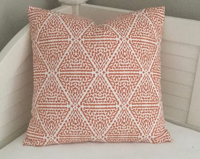 Lacefield Designs Miguel in Papaya (on both sides) Designer Pillow Cover - Square, Euro, Sham, Lumbar and Body Pillow Sizes and Bed Scarves