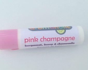 Pink Champagne lip balm - berry, chamomile and bergamot flavored lip balm - wine flavored lip balm - champagne lip balm