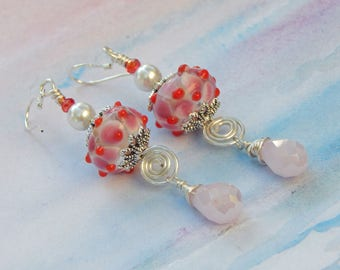 Irresistible Spiral, Long and Dangly, Pearl, and Murano Glass, Sterling Silver Earrings