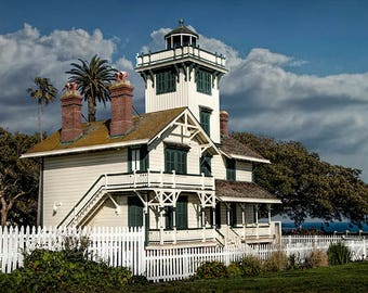 Historic Fermin Point Lighthouse in Los Angeles California No.7467 A Fine Art Seascape Photograph