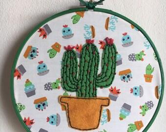 Cactus wooden hoop green felt wall hanging