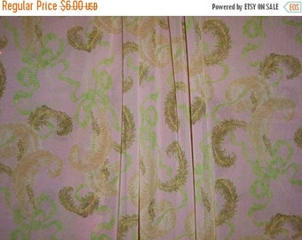 ON SALE SPECIAL--Dusty Rose and Green Feather and Bow Print Silk Chiffon Fabric--One Yard