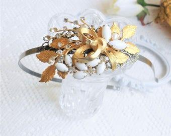 Gold Leaf Headband, Wedding Headband, Grecian Headband, Assemblage Bridal Headband, OOAK, Jeweled Head Piece, Collage Head Piece, Headpiece