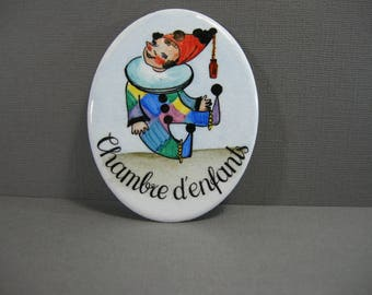 vintage enamel plaque, Chambre d'enfants oval sign, colorful, clown, French child's room decor, kid's room, sign for nursery, baby decor