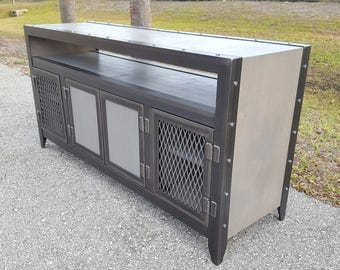 Industrial Media Console / credenza . component niche. wood and steel •  003L