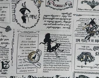 """Alice in Wonderland and newspaper - 1 yard - 5 colors - cotton linen ,fairy tale - sewing, Check out with code """"5YEAR"""" to save 20% off"""