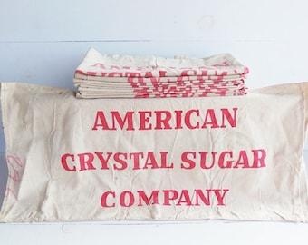 Vintage Sugar Sack Bag,  Farmhouse Home Decor, Table Runner, Crystal Sugar Company, Feed Sack