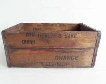 Vintage Wooden Soda Crate, Orange Flash Soda Crate,