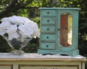 C H I P P Y, Jewelry Box, Vintage Aqua Collection Shabby Chest Custom Interior