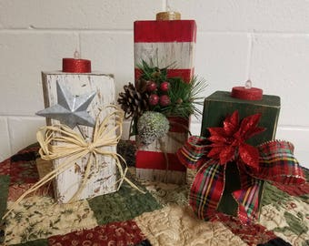 Wooden Christmas Candles (Set of 3) #2 Set, Distressed Wooden Candles, Flameless Candles, Wooden Block Candles,