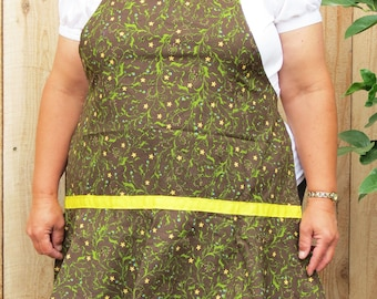 Full Apron with Flirty Skirt:  Brown Polka Dots with Vines and Yellow Flowers