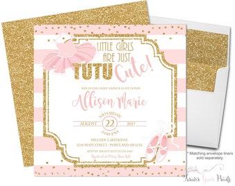 Tutu Baby Shower Invitations - Baby Shower Invitation Girl - Pink and Gold Baby Shower - Ballerina Baby Shower - Baby Invitations Shower