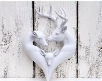 ON SALE Heart Decor / Nursery / Woodland Nursery / Baby Deer / Antlers /  Momma Deer / Daddy Deer /Baby Deer / Family Sign /Love Sign