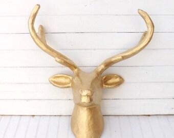 ON SALE Deer Head / Gold Wall Decor / Faux Taxidermy / Deer Decor / Paper Mache / Faux Deer Head Wall Mount