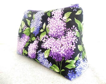 Large Cosmetic Bag - Lavender Flowers