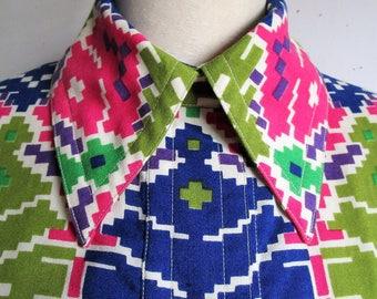 RARE 60s Star of Siam Dress Vintage Bangkok Maxi Pink Green Funky Geometric 1960s Dress14