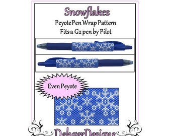 Peyote Beading Pattern (Pen Wrap/Cover)-Snowflakes