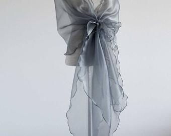 Gray/silver Evening design elegant shawl.Cover up,organza shawl.