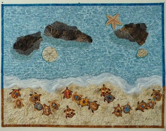 Landscape Seascape Quilt, Turtles, Beach, Ocean, Sand Dollar, Starfish, Shell, Rocks