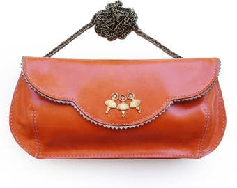 Orange clutch bag, Leather purse with dancers, Women's orange purse, women's wallet, orange handbag, ballerina purse