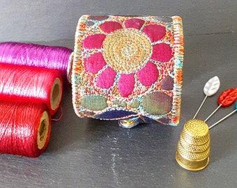 Cuff, Textile Cuff, Fabric Cuff, Botanical Themed Cuff, Free Machine Embroidery, Artisan Cuff, Bono Cuff, Textile Bracelet, Fabric Bracelet