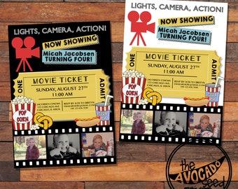 Movie Theme Birthday (or any event) Party Invitation - DIY Printing or Professional Prints via Convo