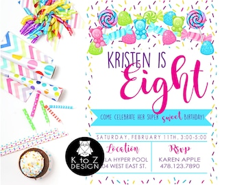 Candy Birthday Party /Candyland Invitation/Candy Party Invitation/ Printable Invitation / Printed Invitations